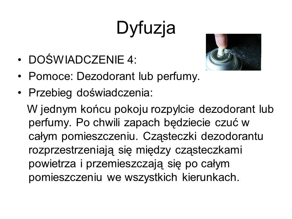 Dyfuzja DOŚWIADCZENIE 4: Pomoce: Dezodorant lub perfumy.