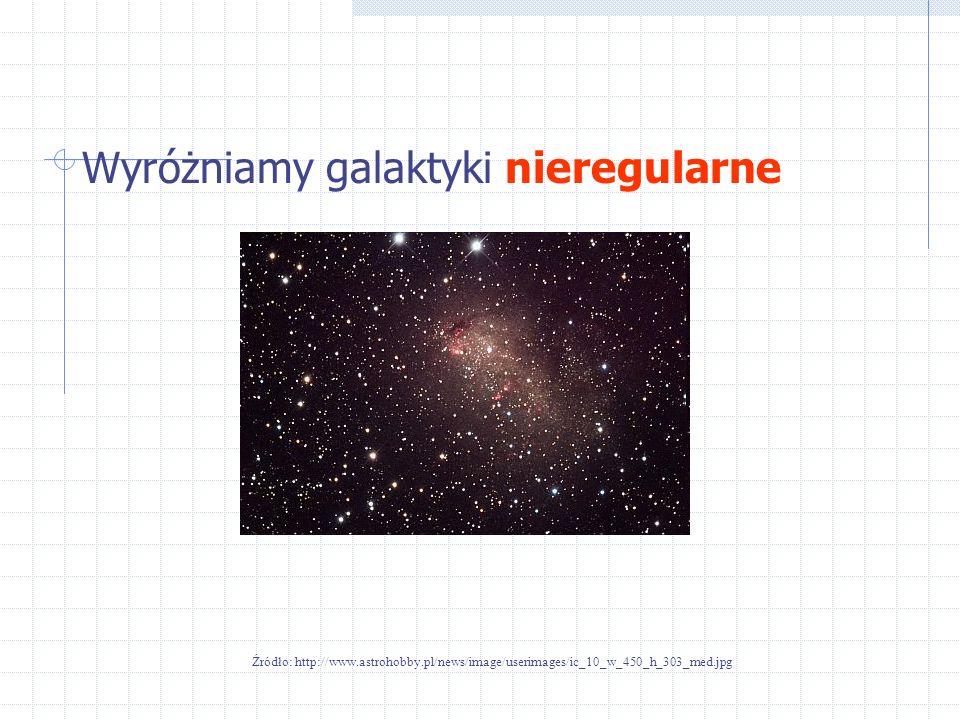 Wyróżniamy galaktyki nieregularne