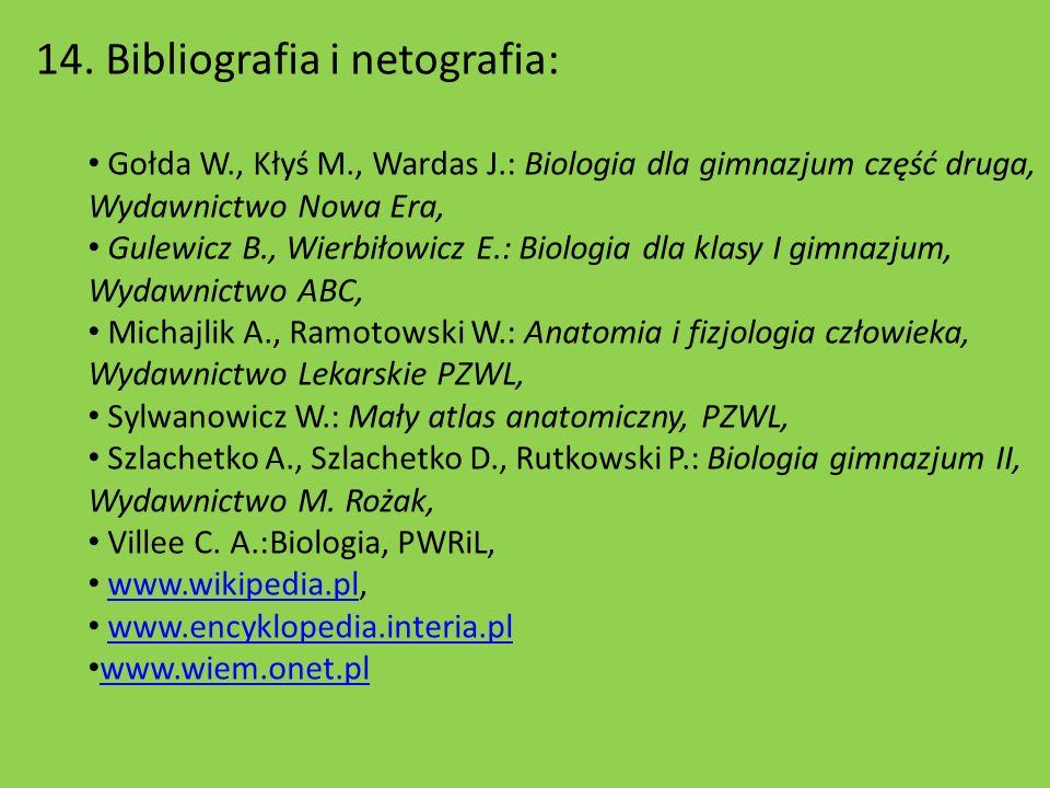 14. Bibliografia i netografia: