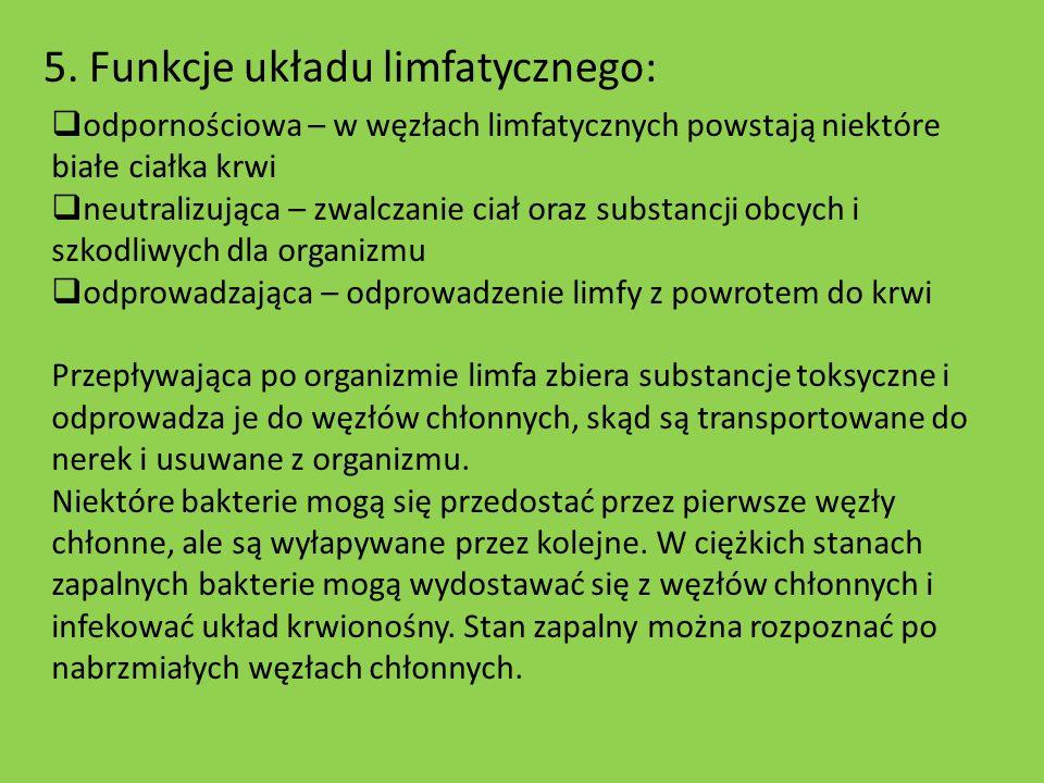 5. Funkcje układu limfatycznego: