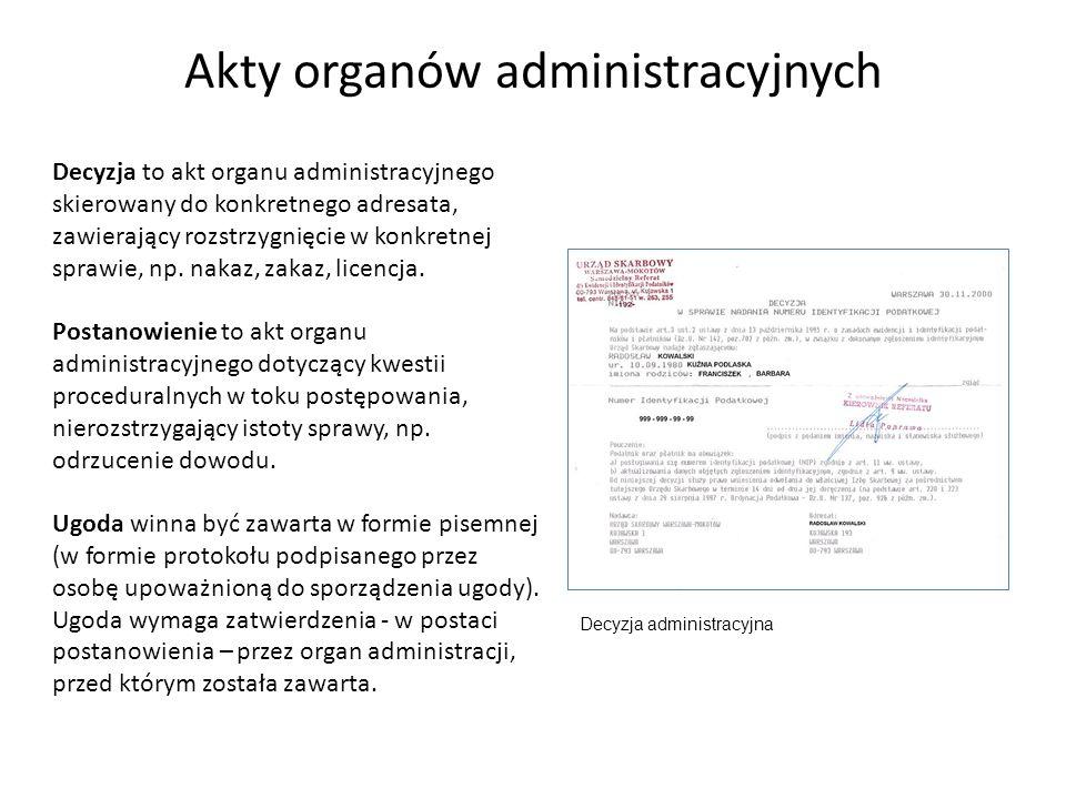Akty organów administracyjnych
