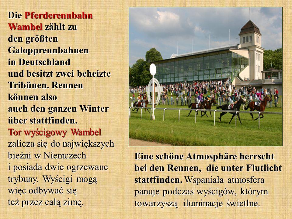 Die Pferderennbahn Wambel zählt zu den größten Galopprennbahnen in Deutschland und besitzt zwei beheizte Tribünen. Rennen können also auch den ganzen Winter über stattfinden. Tor wyścigowy Wambel zalicza się do największych bieżni w Niemczech i posiada dwie ogrzewane trybuny. Wyścigi mogą więc odbywać się też przez całą zimę.