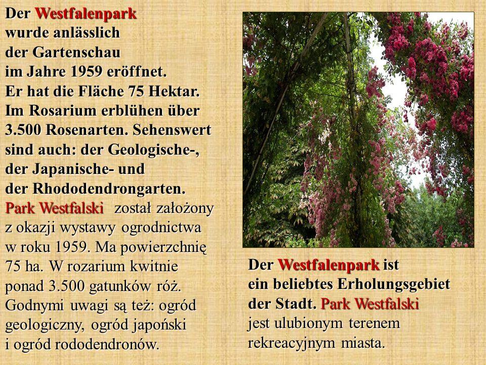 Der Westfalenpark wurde anlässlich der Gartenschau im Jahre 1959 eröffnet. Er hat die Fläche 75 Hektar. Im Rosarium erblühen über 3.500 Rosenarten. Sehenswert sind auch: der Geologische-, der Japanische- und der Rhododendrongarten. Park Westfalski został założony z okazji wystawy ogrodnictwa w roku 1959. Ma powierzchnię 75 ha. W rozarium kwitnie ponad 3.500 gatunków róż. Godnymi uwagi są też: ogród geologiczny, ogród japoński i ogród rododendronów.