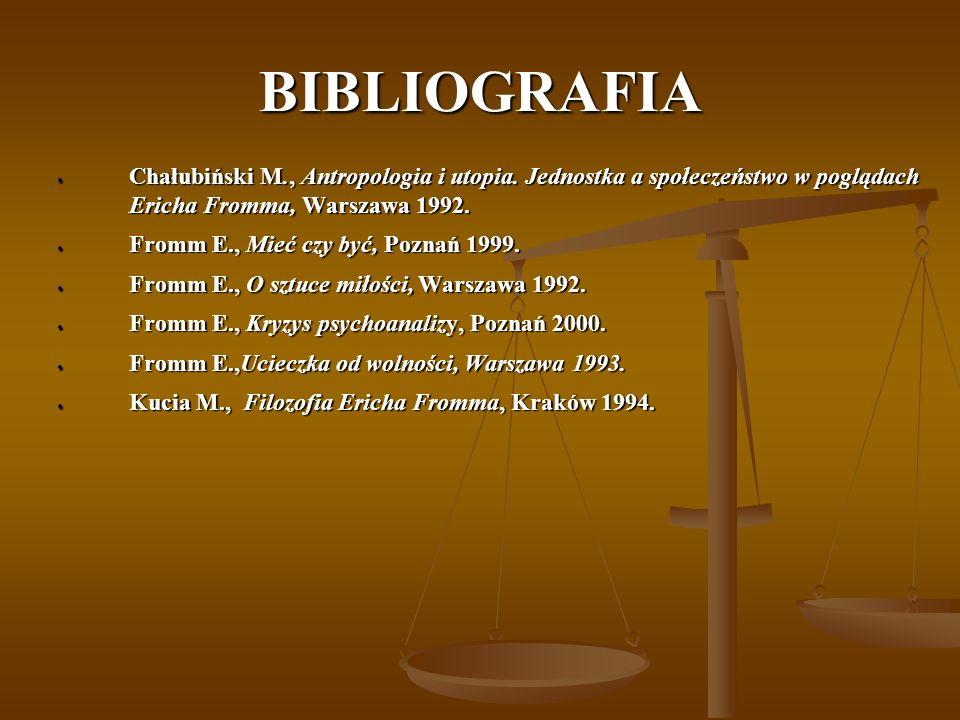 BIBLIOGRAFIA Chałubiński M., Antropologia i utopia. Jednostka a społeczeństwo w poglądach Ericha Fromma, Warszawa 1992.