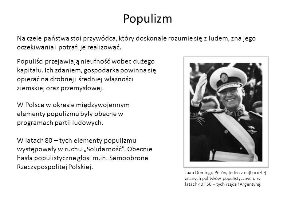 Populizm Na czele państwa stoi przywódca, który doskonale rozumie się z ludem, zna jego oczekiwania i potrafi je realizować.