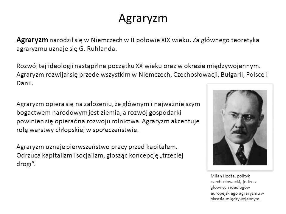 Agraryzm Agraryzm narodził się w Niemczech w II połowie XIX wieku. Za głównego teoretyka agraryzmu uznaje się G. Ruhlanda.