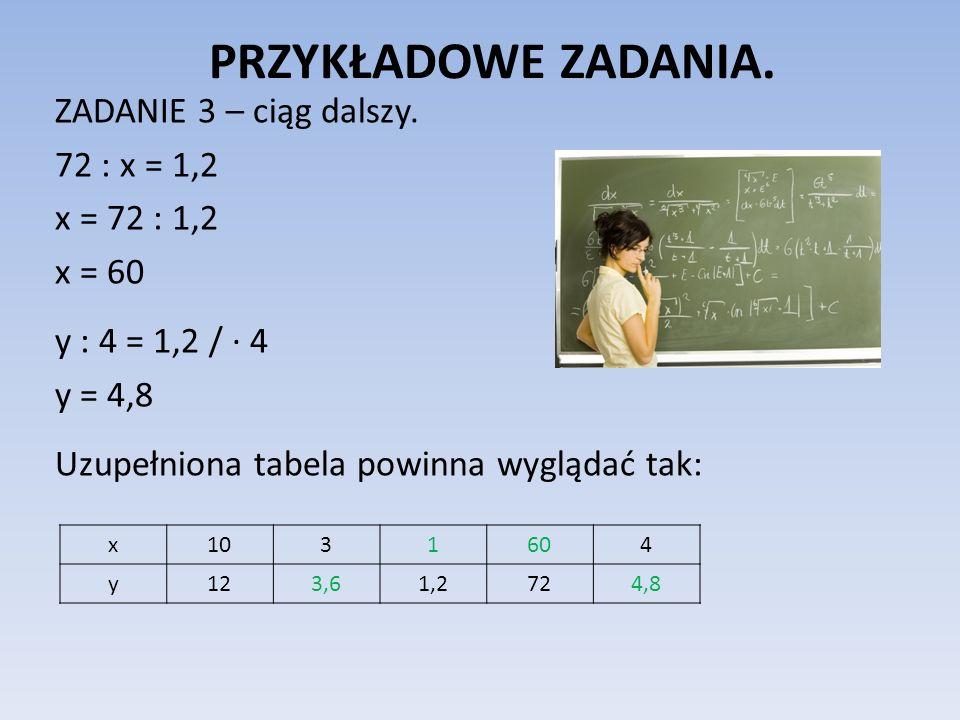 PRZYKŁADOWE ZADANIA. ZADANIE 3 – ciąg dalszy. 72 : x = 1,2 x = 72 : 1,2 x = 60 y : 4 = 1,2 / · 4 y = 4,8 Uzupełniona tabela powinna wyglądać tak:
