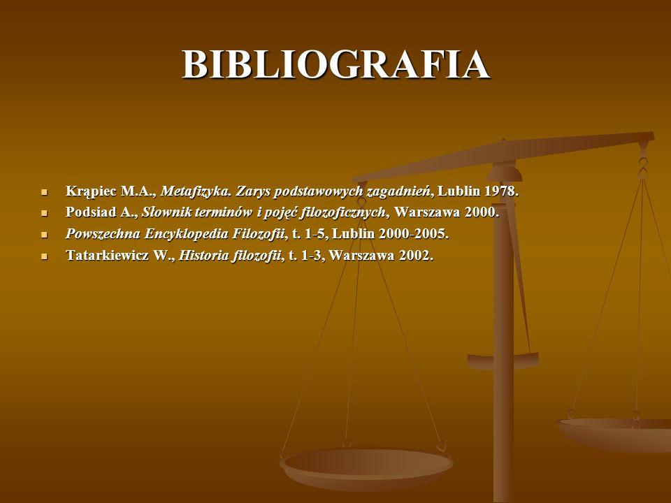BIBLIOGRAFIA Krąpiec M.A., Metafizyka. Zarys podstawowych zagadnień, Lublin 1978.