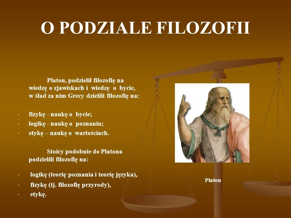 O PODZIALE FILOZOFII Platon, podzielił filozofię na wiedzę o zjawiskach i wiedzę o bycie, w ślad za nim Grecy dzielili filozofię na: