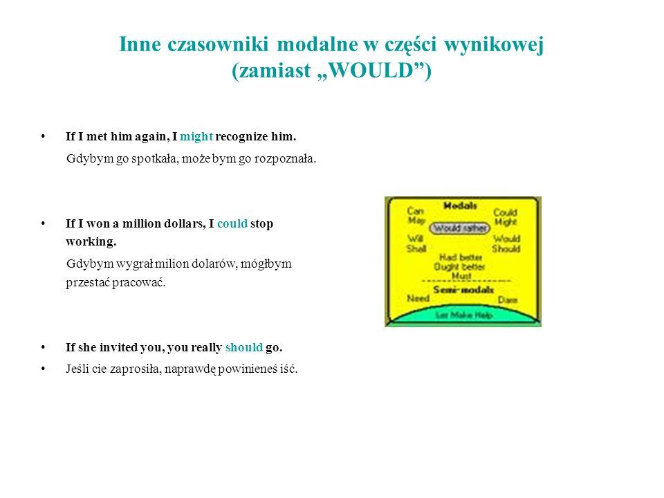 """Inne czasowniki modalne w części wynikowej (zamiast """"WOULD )"""