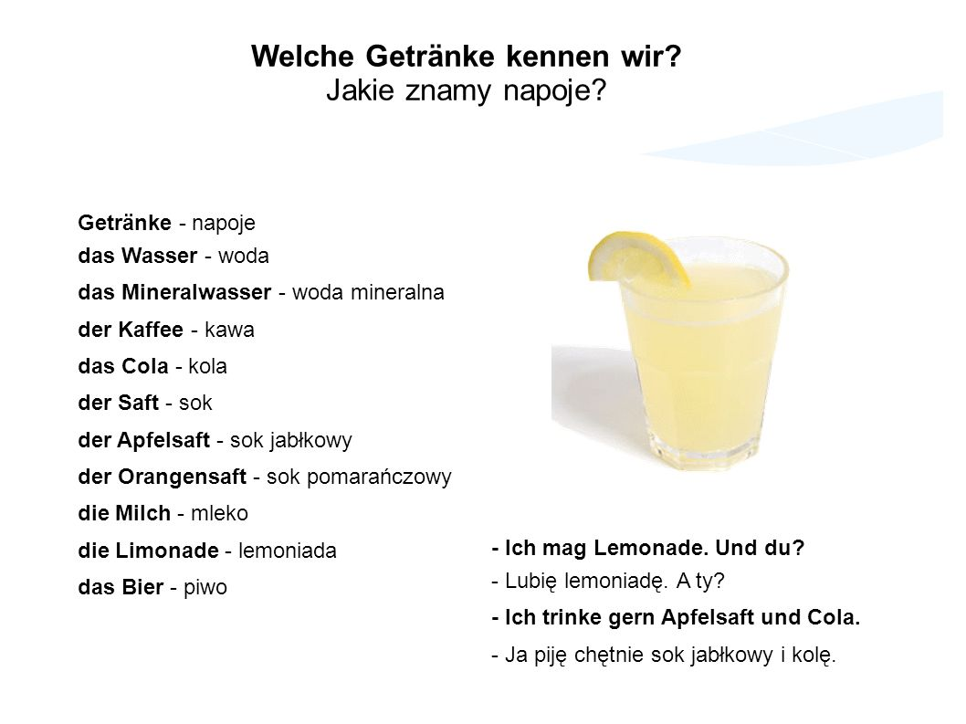 Welche Getränke kennen wir