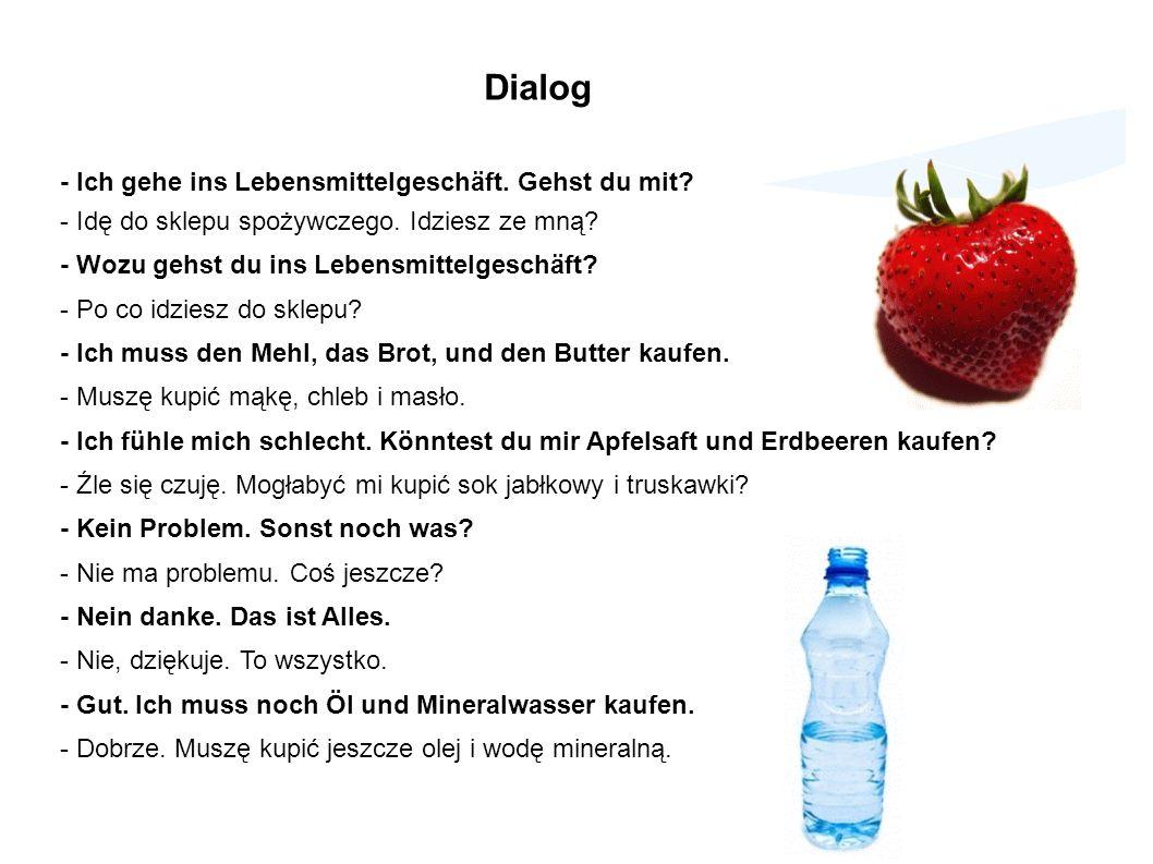 Dialog - Ich gehe ins Lebensmittelgeschäft. Gehst du mit