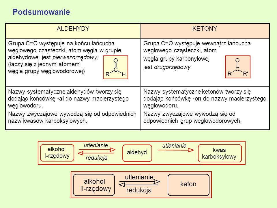 Podsumowanie utlenianie alkohol keton II-rzędowy redukcja ALDEHYDY