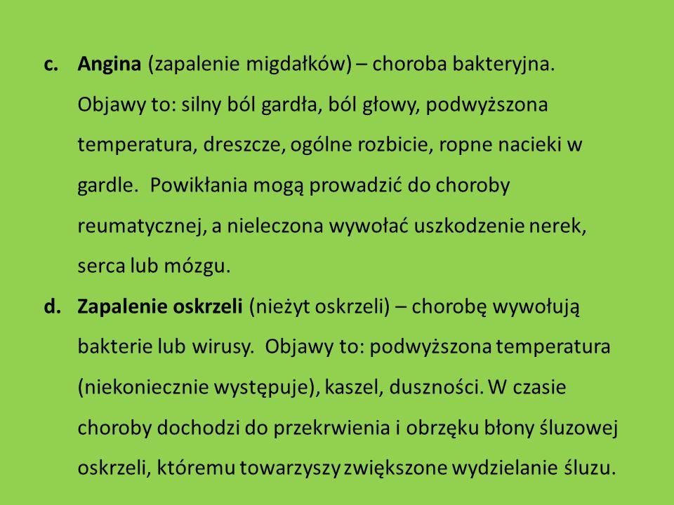Angina (zapalenie migdałków) – choroba bakteryjna