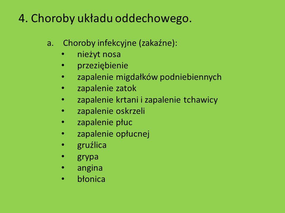 4. Choroby układu oddechowego.