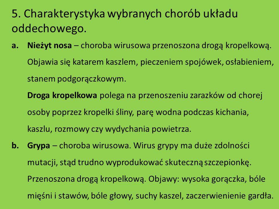 5. Charakterystyka wybranych chorób układu oddechowego.