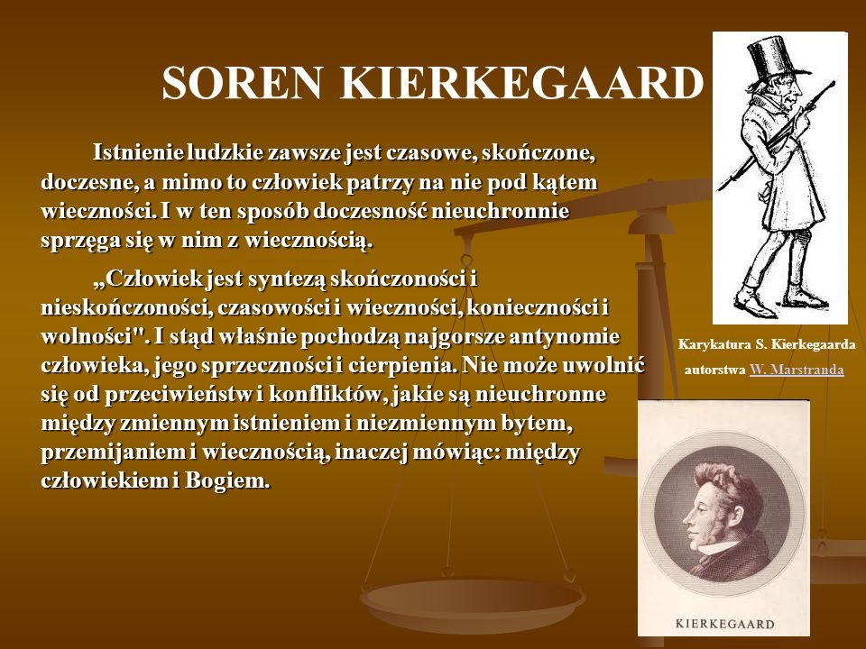 Karykatura S. Kierkegaarda autorstwa W. Marstranda