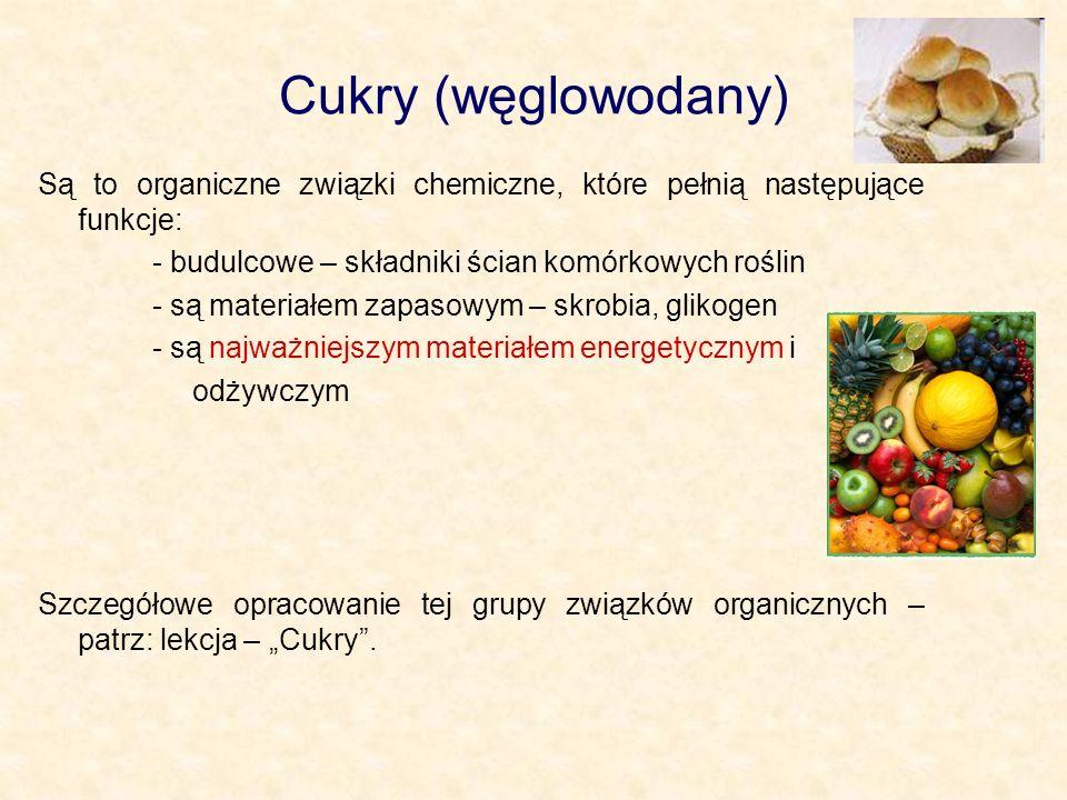 Cukry (węglowodany) Są to organiczne związki chemiczne, które pełnią następujące funkcje: - budulcowe – składniki ścian komórkowych roślin.