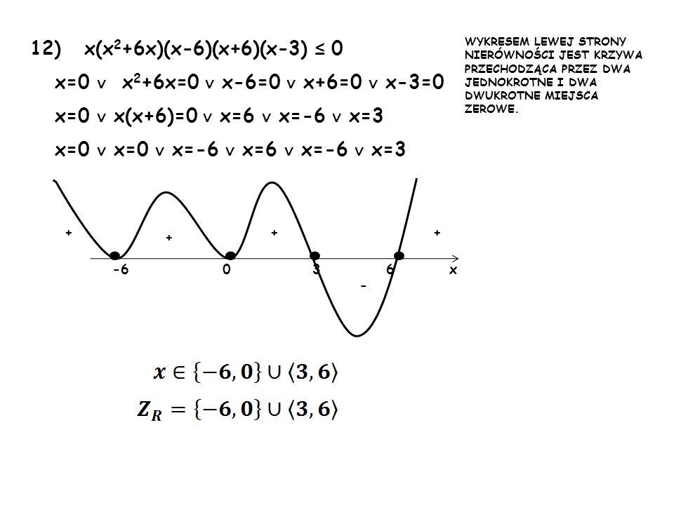 • • • • 12) x(x2+6x)(x-6)(x+6)(x-3) ≤ 0