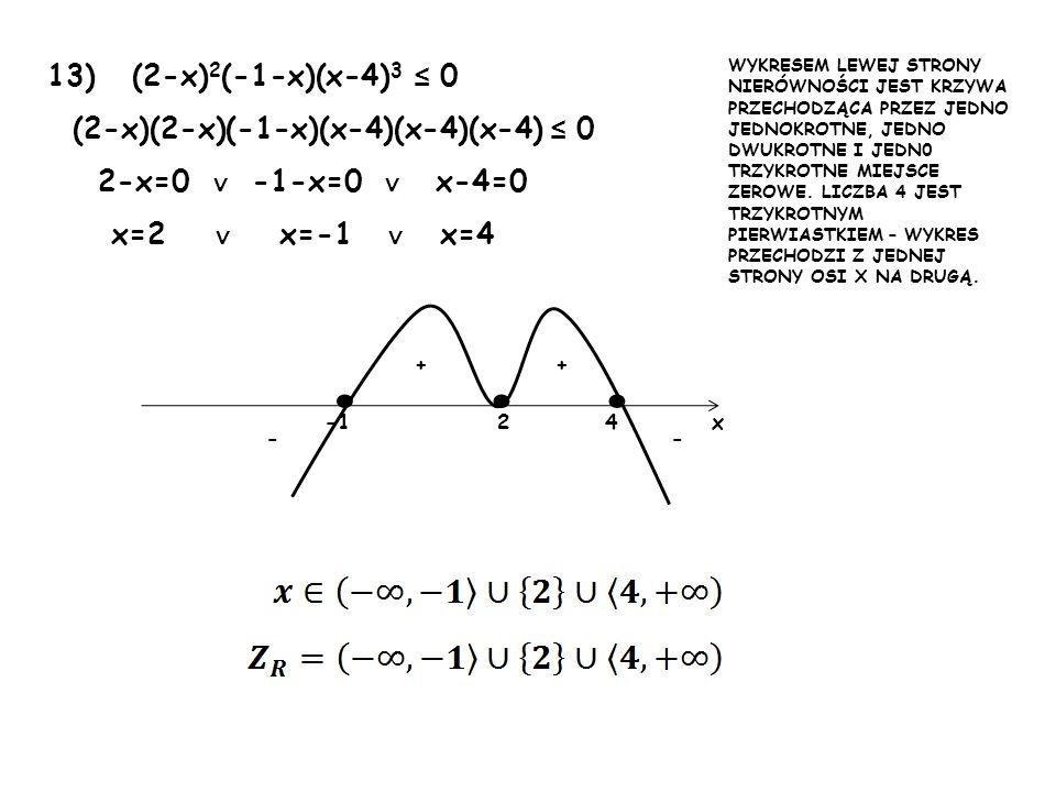 • • • 13) (2-x)2(-1-x)(x-4)3 ≤ 0 (2-x)(2-x)(-1-x)(x-4)(x-4)(x-4) ≤ 0