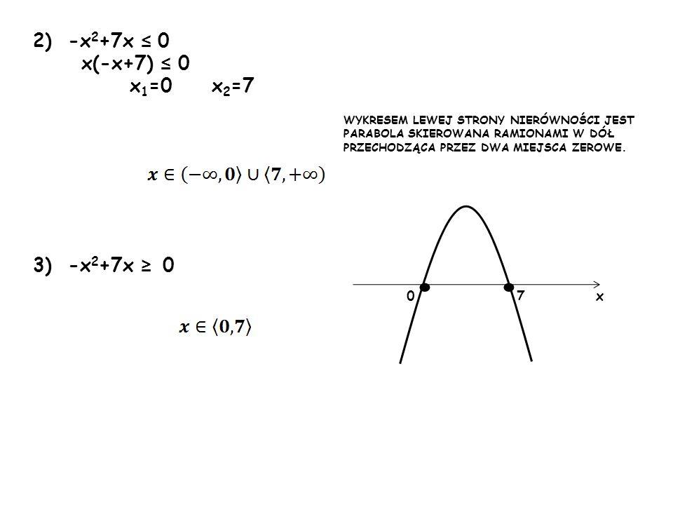 • • 2) -x2+7x ≤ 0 x(-x+7) ≤ 0 x1=0 x2=7 3) -x2+7x ≥ 0 7 x