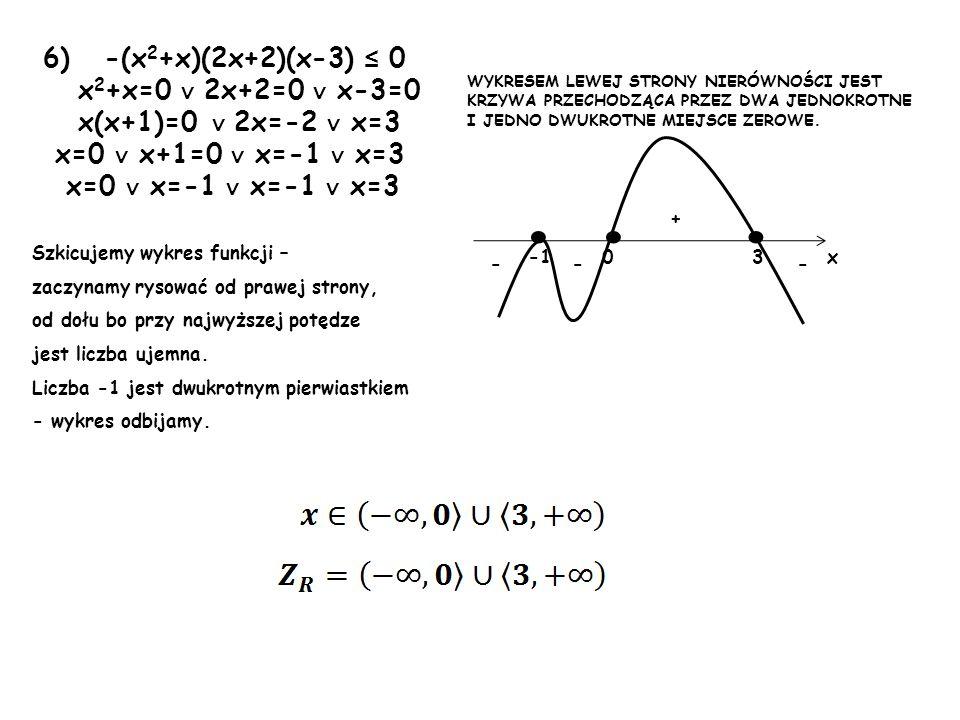 • • • 6) -(x2+x)(2x+2)(x-3) ≤ 0 x2+x=0 ∨ 2x+2=0 ∨ x-3=0