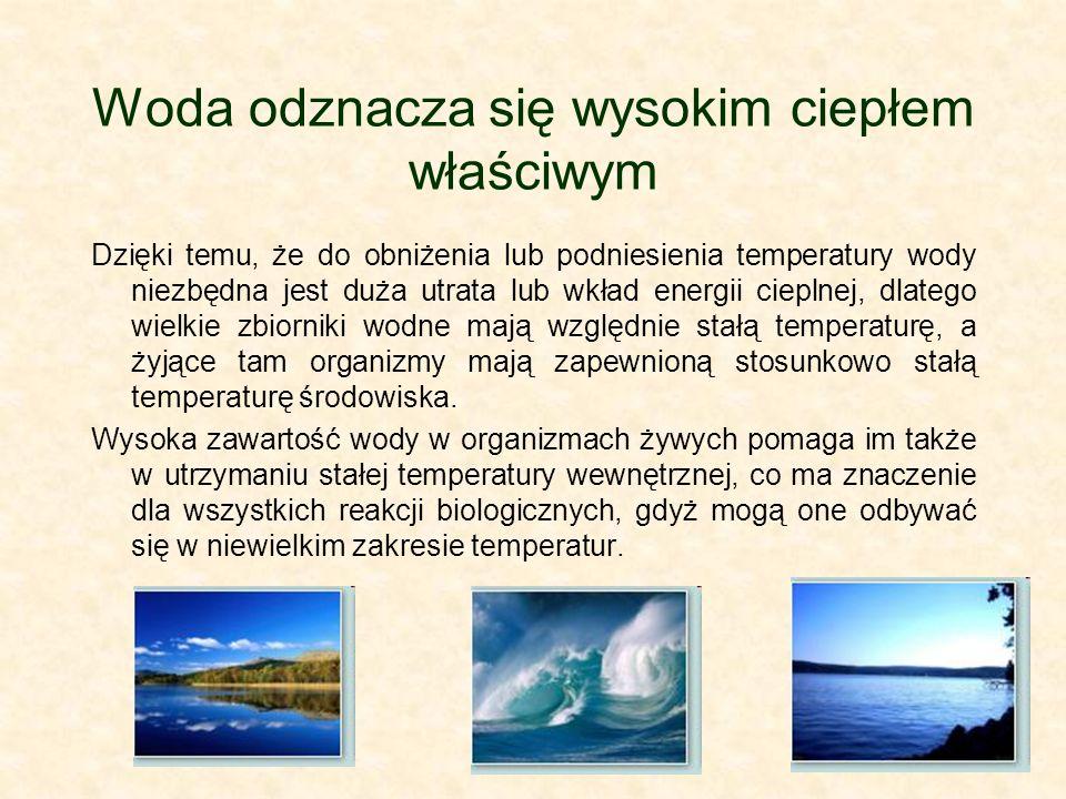 Woda odznacza się wysokim ciepłem właściwym