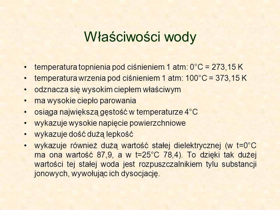 Właściwości wody temperatura topnienia pod ciśnieniem 1 atm: 0°C = 273,15 K. temperatura wrzenia pod ciśnieniem 1 atm: 100°C = 373,15 K.