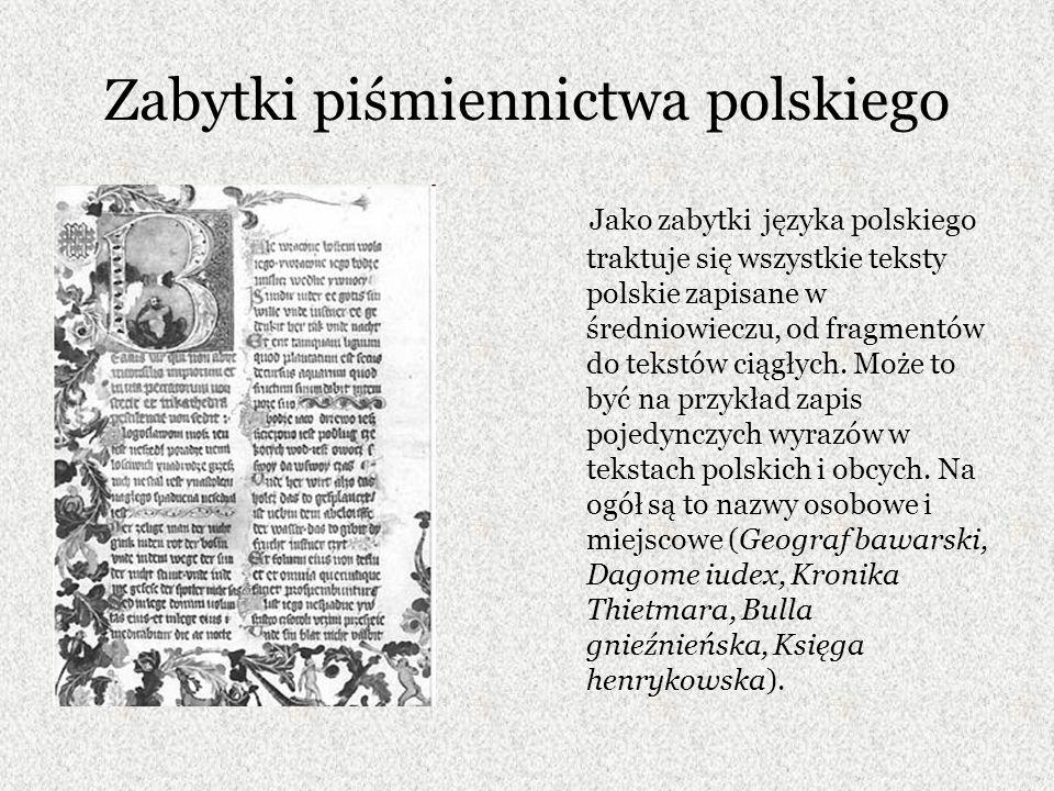 Zabytki piśmiennictwa polskiego
