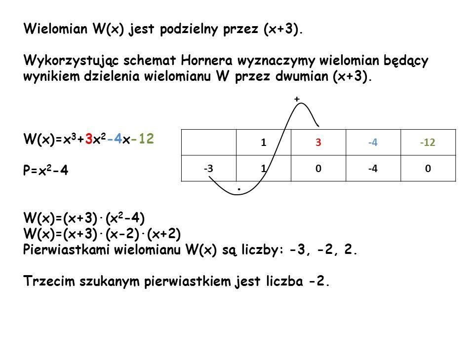 ∙ Wielomian W(x) jest podzielny przez (x+3).