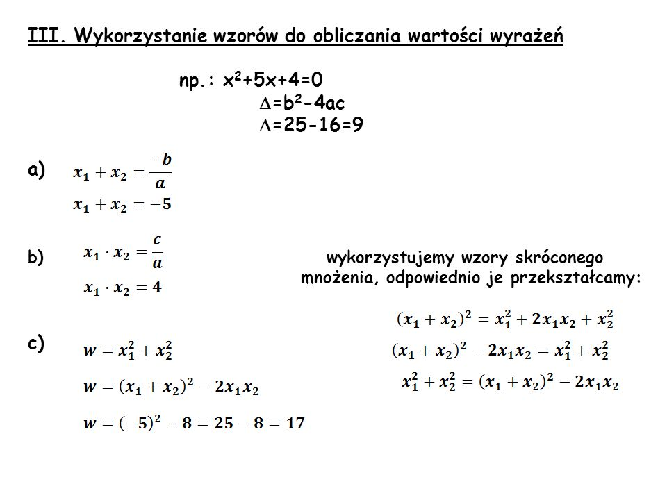 III. Wykorzystanie wzorów do obliczania wartości wyrażeń