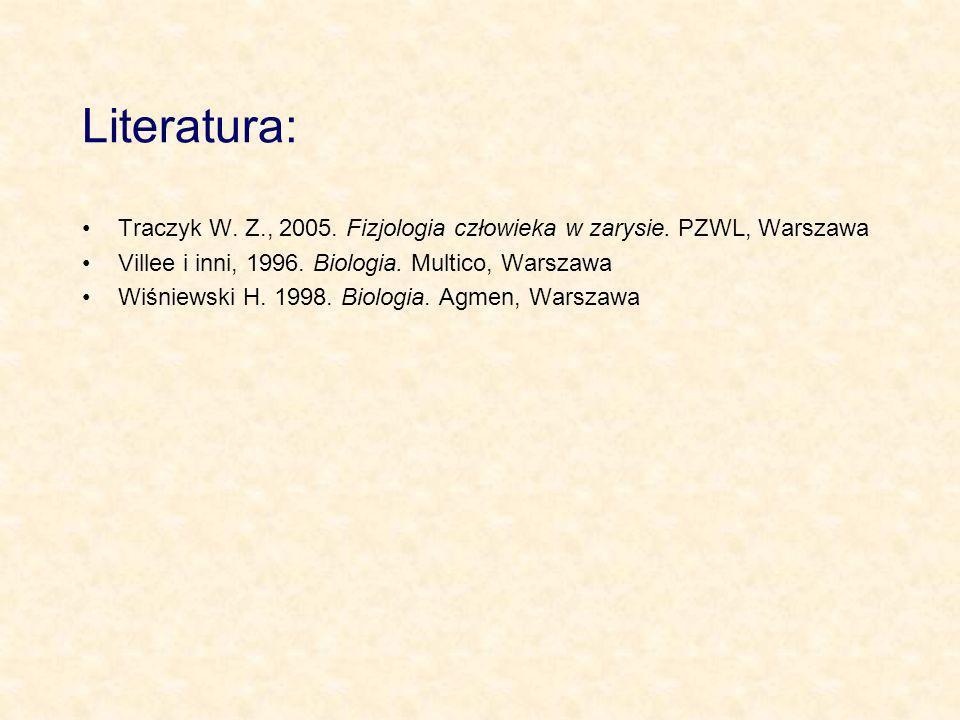 Literatura:Traczyk W. Z., 2005. Fizjologia człowieka w zarysie. PZWL, Warszawa. Villee i inni, 1996. Biologia. Multico, Warszawa.