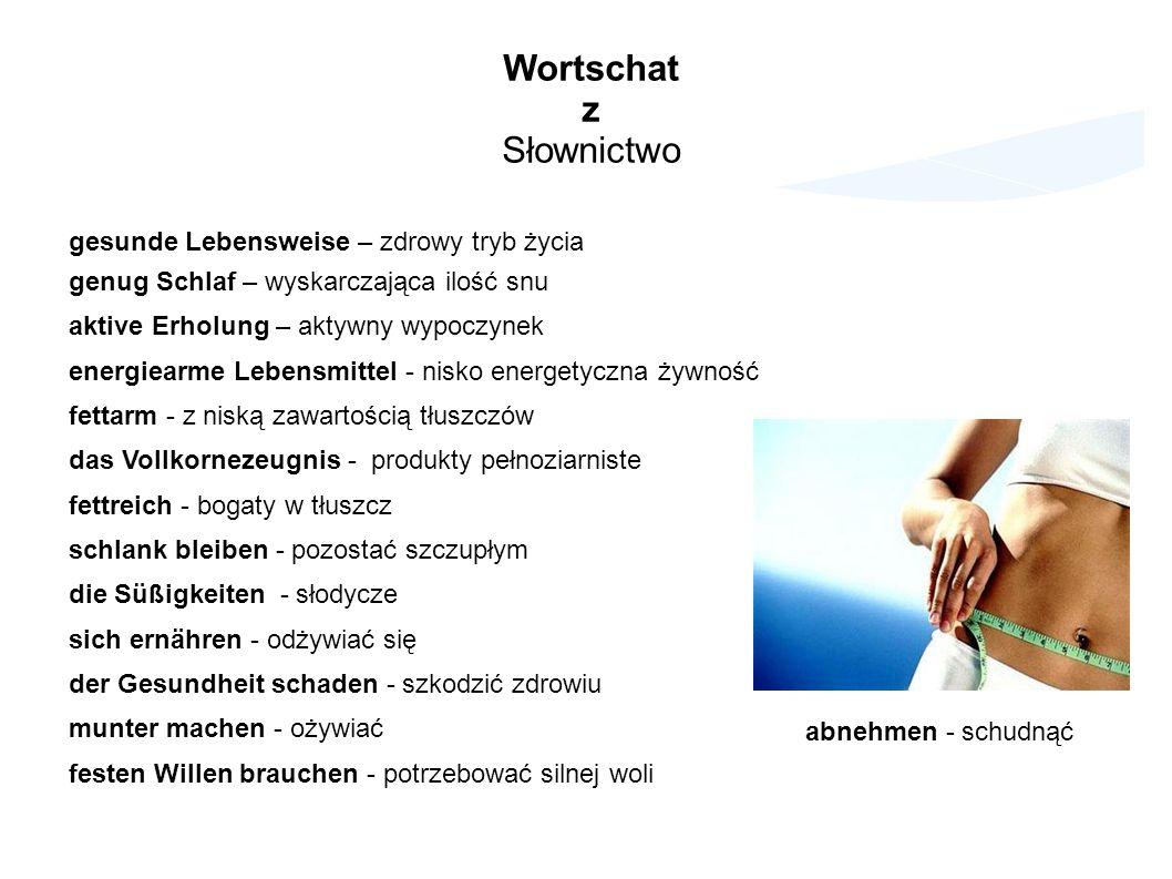 Wortschatz Słownictwo gesunde Lebensweise – zdrowy tryb życia