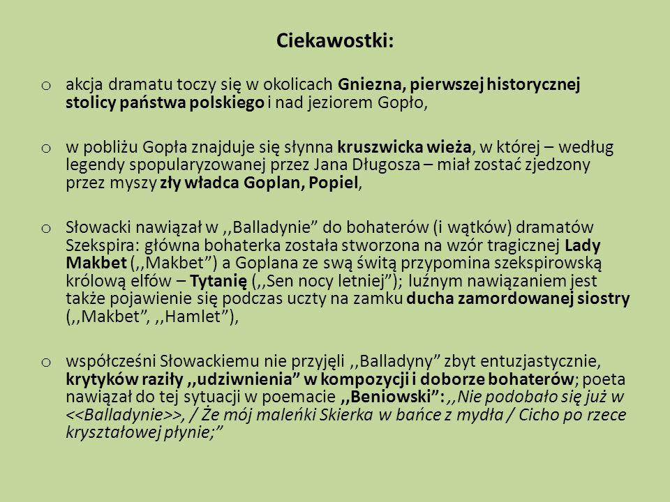 Ciekawostki: akcja dramatu toczy się w okolicach Gniezna, pierwszej historycznej stolicy państwa polskiego i nad jeziorem Gopło,