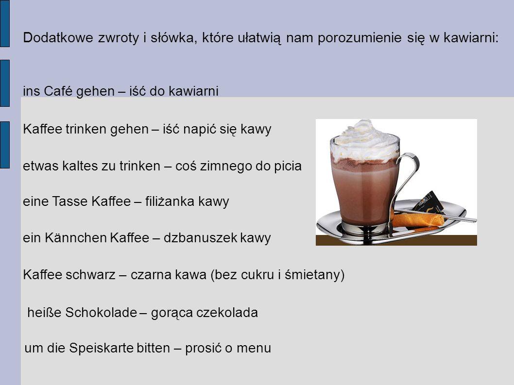 Dodatkowe zwroty i słówka, które ułatwią nam porozumienie się w kawiarni: