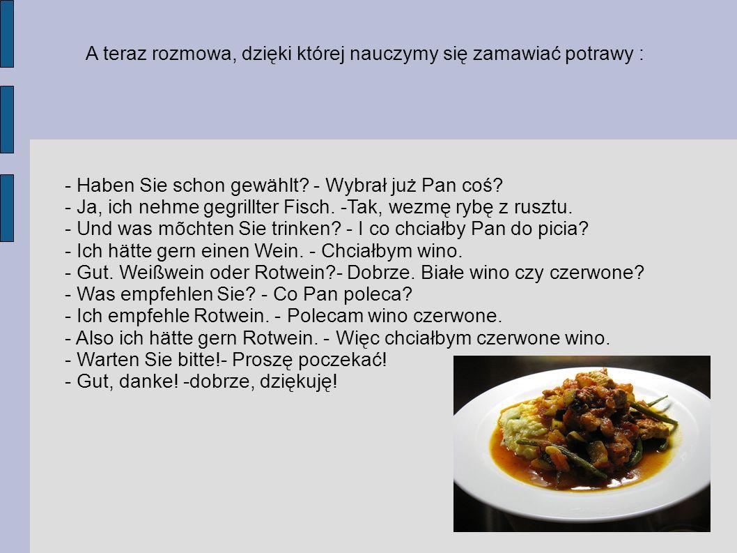 A teraz rozmowa, dzięki której nauczymy się zamawiać potrawy :