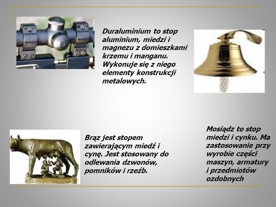 Duraluminium to stop aluminium, miedzi i magnezu z domieszkami krzemu i manganu. Wykonuje się z niego elementy konstrukcji metalowych.