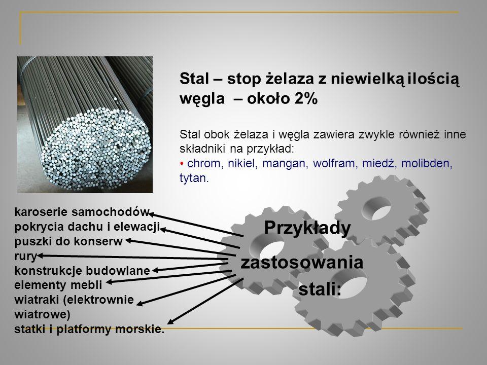 Przykłady zastosowania stali: