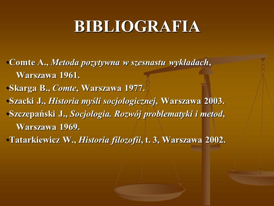 BIBLIOGRAFIA Comte A., Metoda pozytywna w szesnastu wykładach,