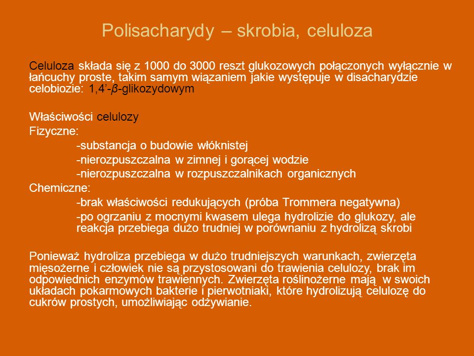 Polisacharydy – skrobia, celuloza