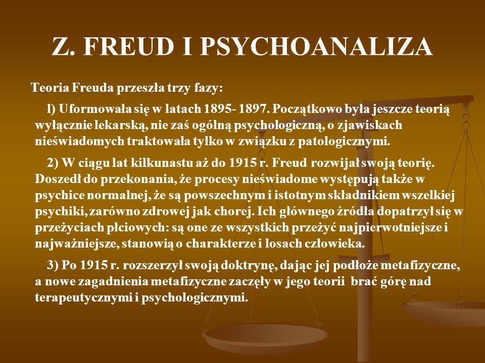 Z. FREUD I PSYCHOANALIZA