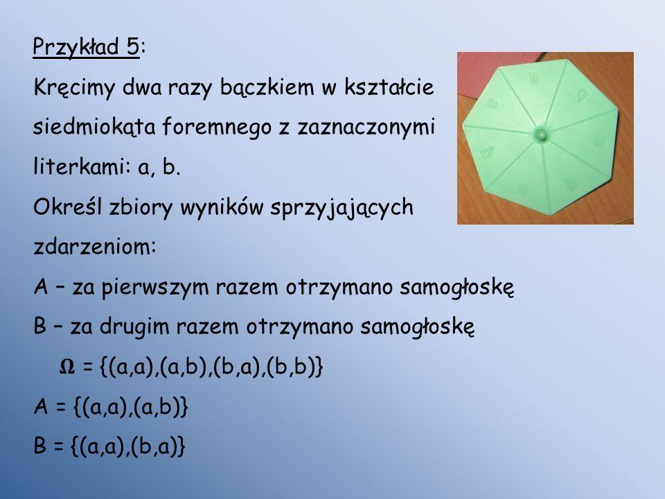 Przykład 5: Kręcimy dwa razy bączkiem w kształcie. siedmiokąta foremnego z zaznaczonymi. literkami: a, b.