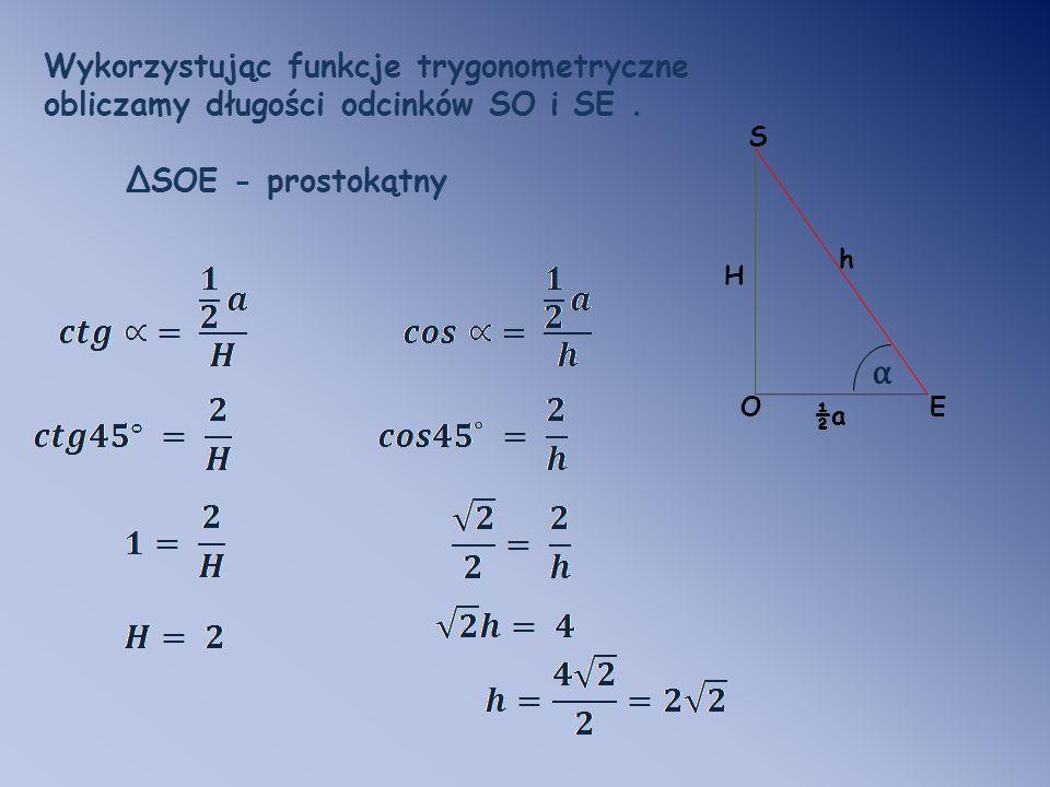 α Wykorzystując funkcje trygonometryczne