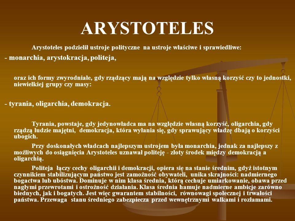 ARYSTOTELES - monarchia, arystokracja, politeja,
