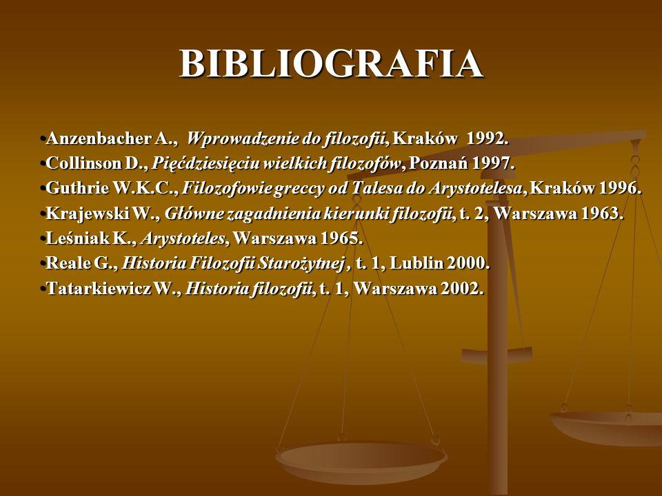 BIBLIOGRAFIA Anzenbacher A., Wprowadzenie do filozofii, Kraków 1992.