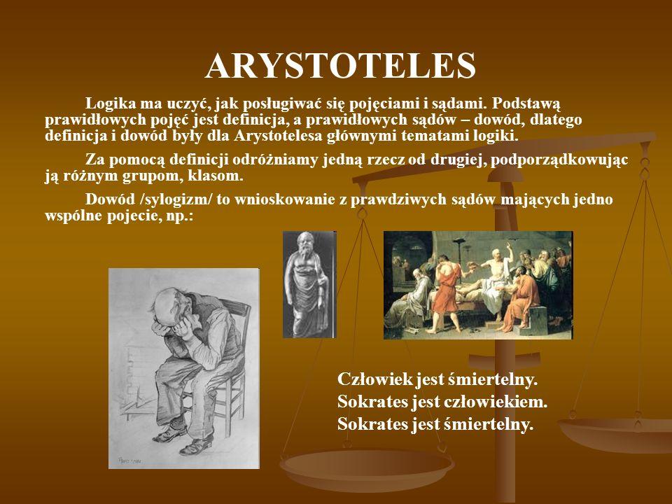 ARYSTOTELES Człowiek jest śmiertelny. Sokrates jest człowiekiem.