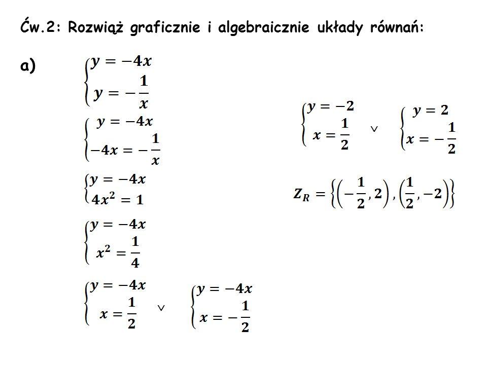 Ćw.2: Rozwiąż graficznie i algebraicznie układy równań: