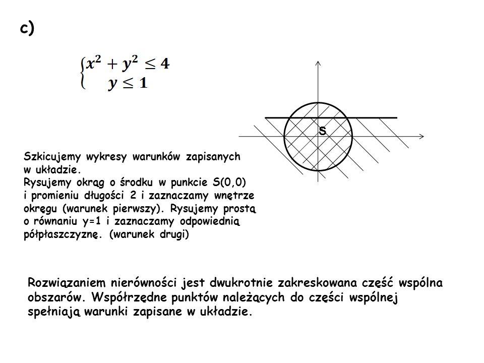 c) S. Szkicujemy wykresy warunków zapisanych. w układzie. Rysujemy okrąg o środku w punkcie S(0,0)