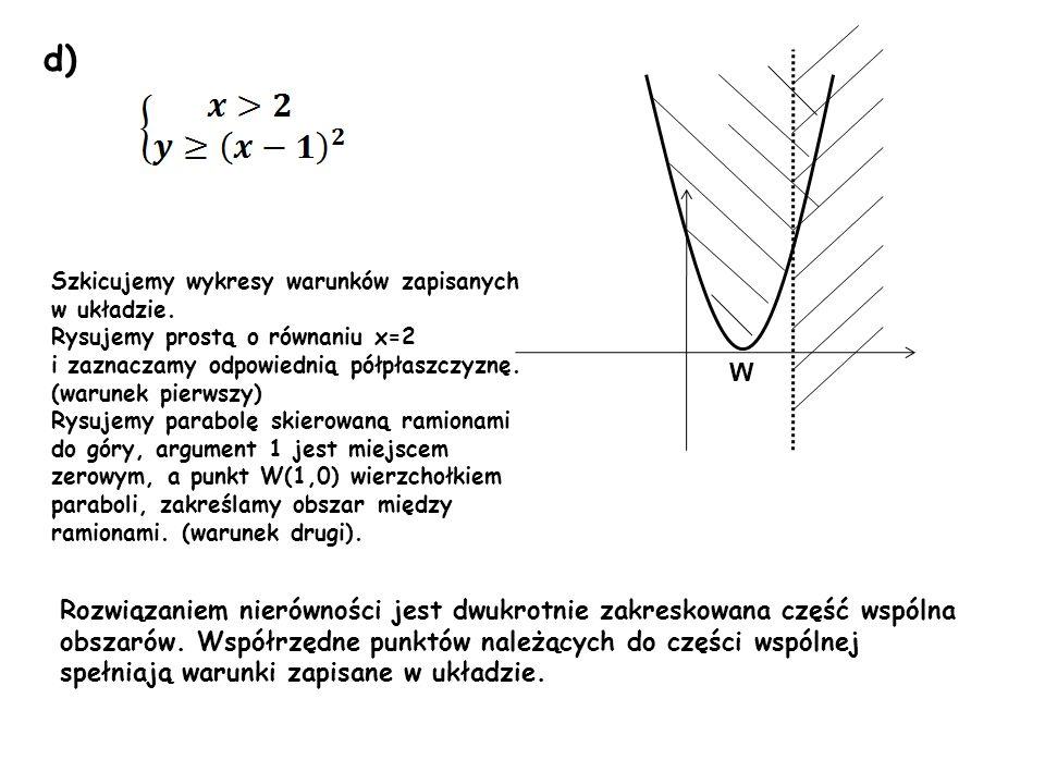 d) Szkicujemy wykresy warunków zapisanych. w układzie. Rysujemy prostą o równaniu x=2. i zaznaczamy odpowiednią półpłaszczyznę. (warunek pierwszy)