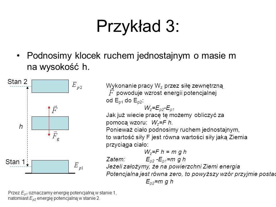 Przykład 3: Podnosimy klocek ruchem jednostajnym o masie m na wysokość h. Stan 2. Wykonanie pracy Wz przez siłę zewnętrzną.